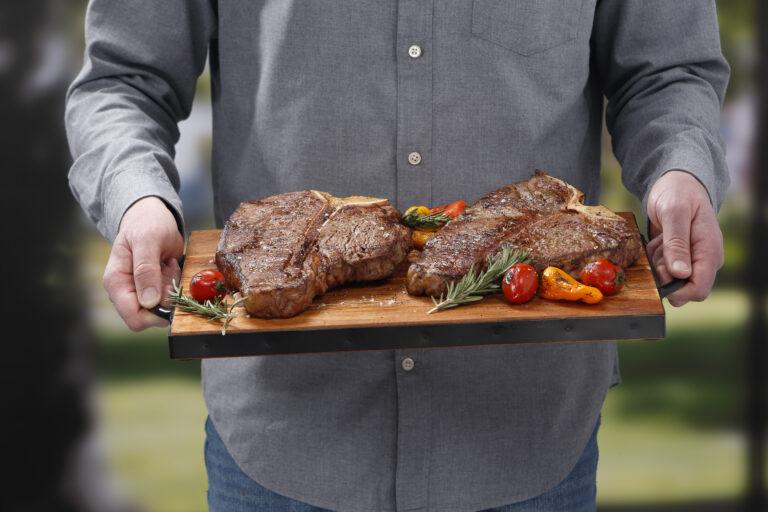 grilled steak on a platter